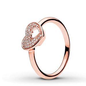 Pandora Shimmering Puzzle Heart Frame Ring